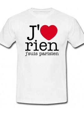 RXL Paris - Tshirt J'aime Rien J'suis Parisien Blanc