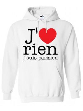 RXL Paris - Sweat Capuche J'aime Rien J'suis Parisien Noir