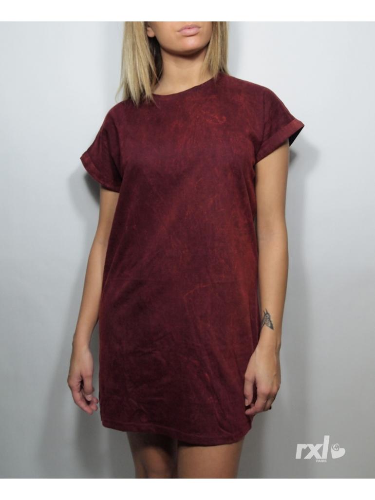 RXL Paris - Tshirt Long Oversize Femme Bordeaux Javel
