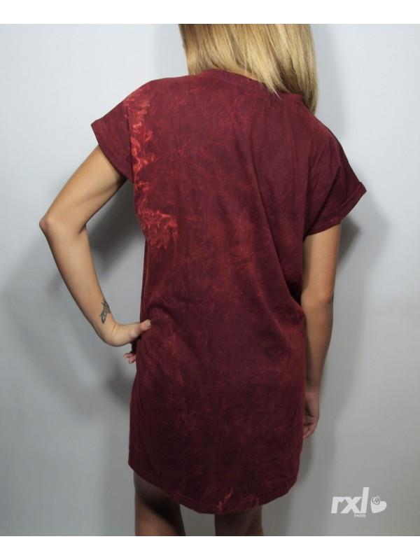 RXL Paris - Women Long Shirt Oversize in Wine Bleach