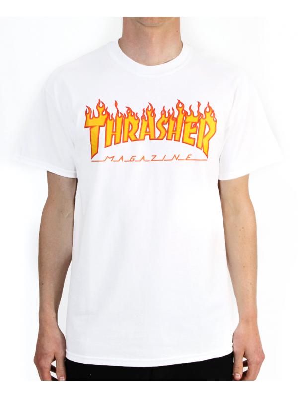 Thrasher - Tshirt Flame Logo Blanc