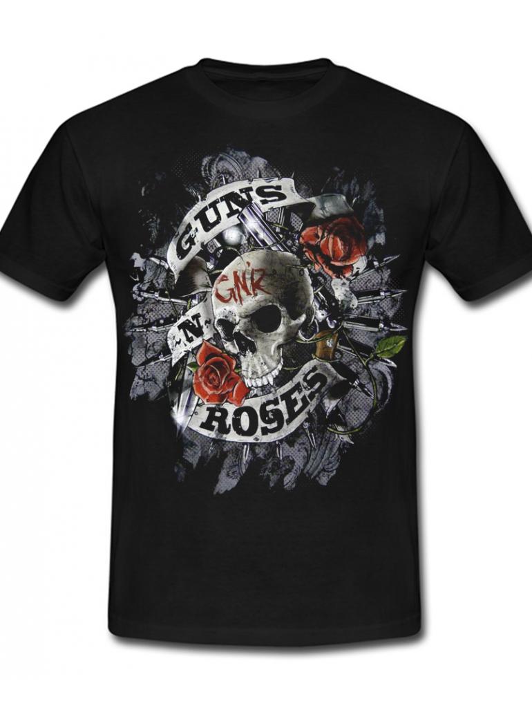 Gun N' Roses Skull Tee in Black