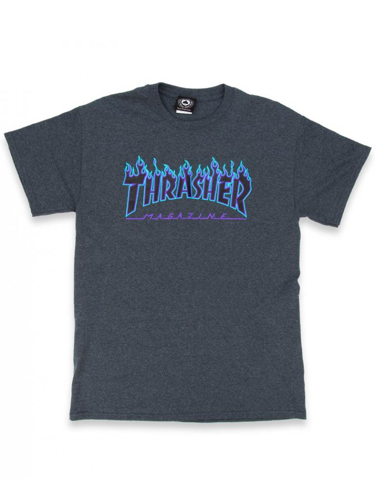 Thrasher - Tshirt Flame Logo Dark Heather
