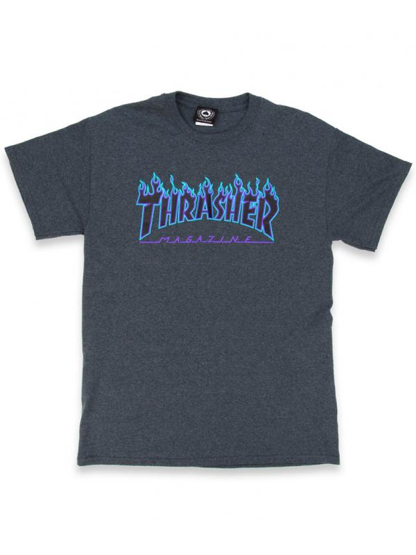 Thrasher - Flame Logo Tee in Dark Heather
