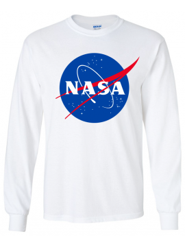 NASA Logo Imprimé T-Shirt Manches Longues Blanc