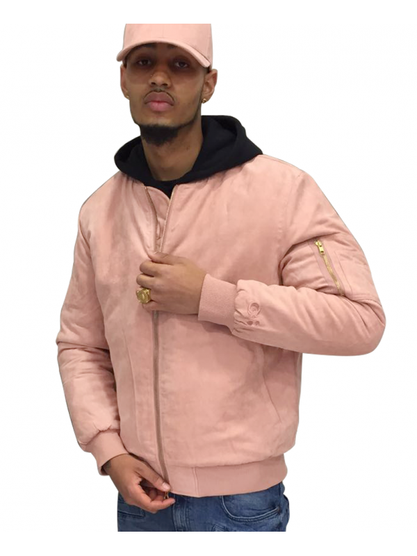 DS|LINE X Canvas And Colors Bomber Fly Jacket Suede in Pink
