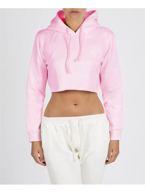 RXL - Crop Top Sweat A Capuche Rose Pastel