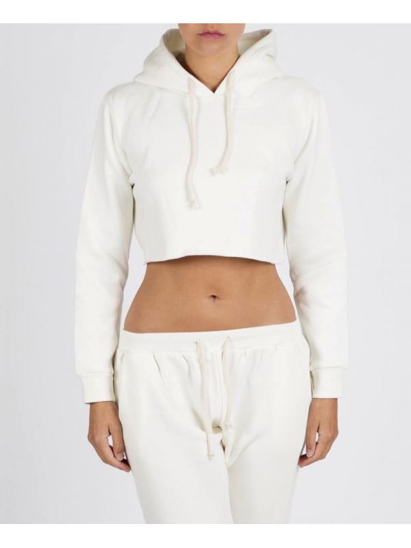 RXL - Crop Top Sweat A Capuche Blanc