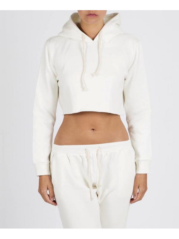 RXL - Crop Top Sweat A Capuche Blanc