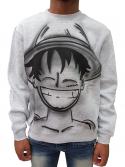 RXL Paris Sweat Crewneck Luffy One Piece Airbrush Custom Gris