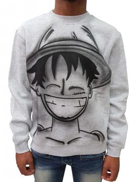 RXL Paris Luffy One Piece Airbrush Custom Crewneck Grey