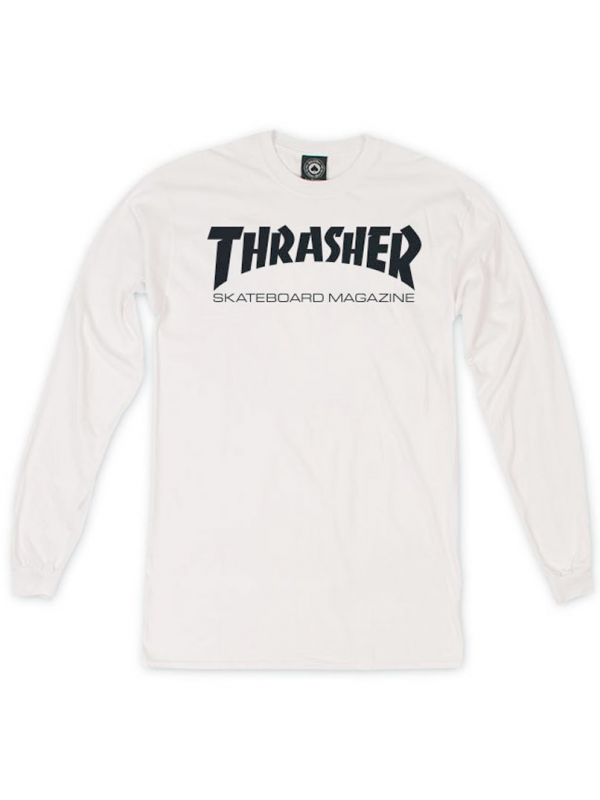 Thrasher Tshirt Manches Longues Thrasher Skate Mag Blanc