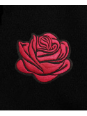 RXL Paris Red Rose Embroidered Hoodie Black