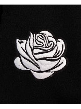 RXL Paris White Rose Embroidered Hoodie Black