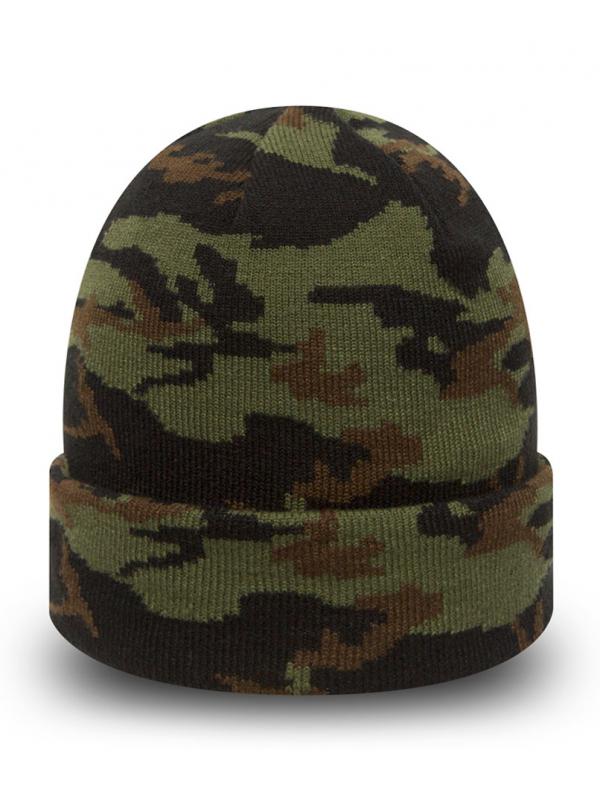 New Era Bonnet À Revers Cuff Woodland Camo