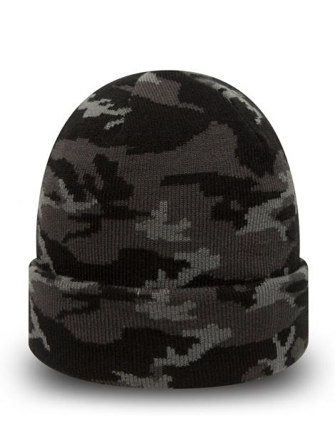 New Era Bonnet À Revers Cuff Camo Noir/Gris