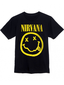 T-Shirt Nirvana Smiley Face Noir