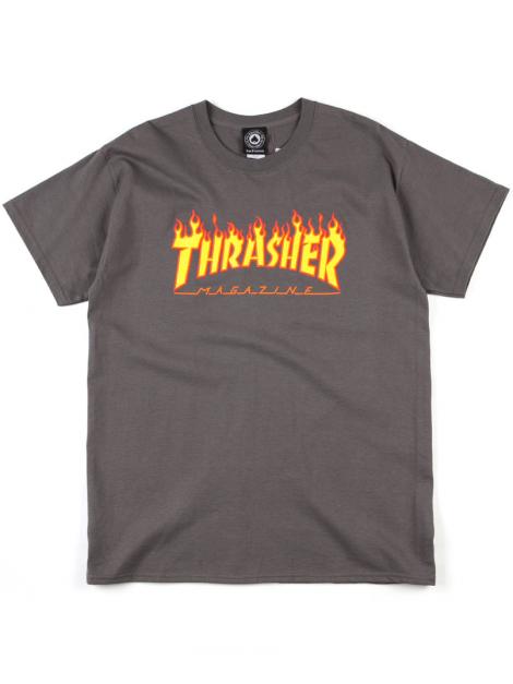 Thrasher T-Shirt Flame Logo Charcoal Gris