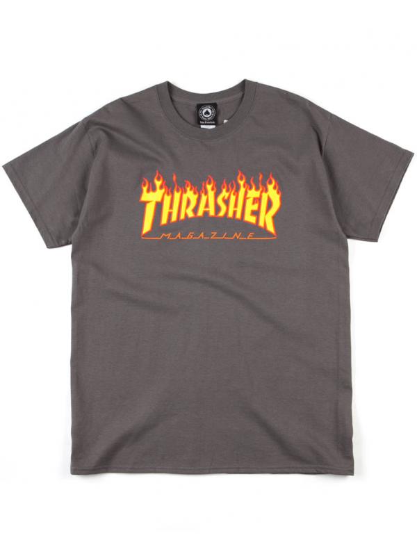 Thrasher Flame Logo Tee Charcoal Grey