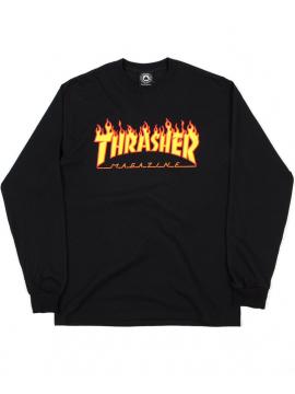 Thrasher T-Shirt Manches Longues Flame Logo Noir