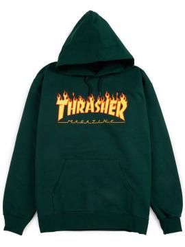 Sweat Capuche Thrasher Flame Logo Forêt Verte