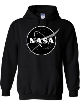 NASA Logo Printed Black Logo Hoodie Black