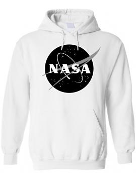 NASA Logo Imprimé Black Logo Sweat Capuche Blanc