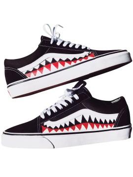 Remix Line Custom - Vans Old Skool Shark Teeth Noir/Blanc