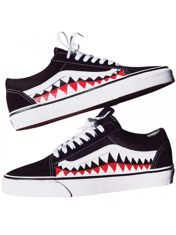 Remix Line Custom x Vans Old Skool Shark Teeth Black/White