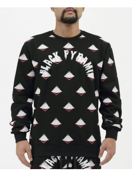 Black Pyramid Drip Logo Monogram Crewneck Black