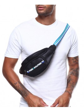 Pink Dolphin Logo Sling Pouch Black