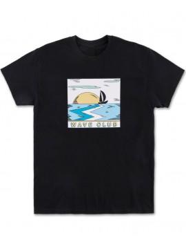T-Shirt Pink Dolphin Wave Club, Noir
