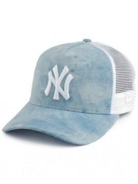 New Era - Casquette Femme New York Yankees Tie Dye A Frame Trucker Bleu Clair