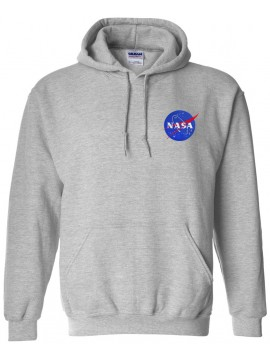 NASA Patch Embroidered Hoodie Grey - Heart logo
