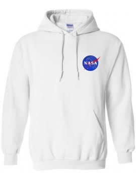 NASA Patch Embroidered Hoodie White - Heart logo