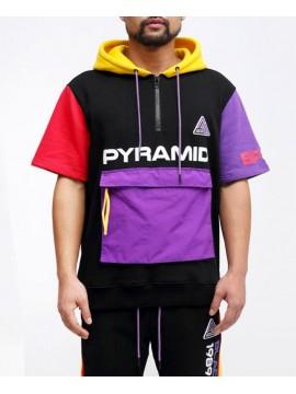 Black Pyramid Half Zip T-Shirt Capuche Noir
