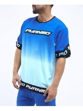 Black Pyramid Dip Dye Pastel Shooting Jersey T-Shirt Bleu