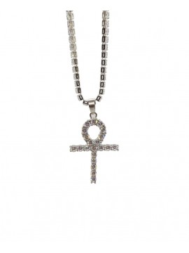 Necklace Egyptian Cross of Ankh With Stone In Zircon Silver Plated