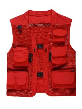 Vest Multi-Pockets Jacket Red Mesh