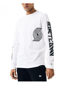New Era Portland Trail Blazers Long Sleeve Tee White