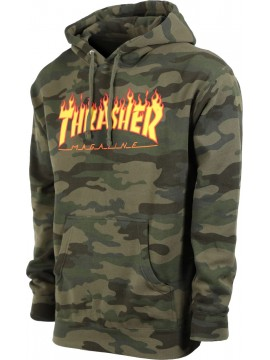 Thrasher - Sweat Capuche Flame Logo Camouflage Forêt