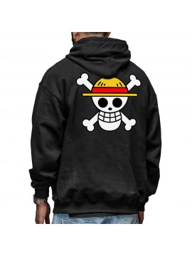Sweat Capuche One Piece Flag Logo Noir