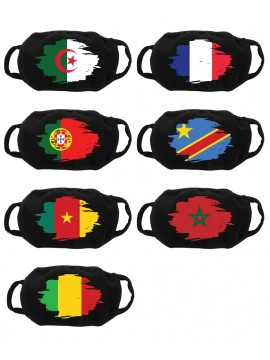 Personalized black adult barrier mask with flag - Washable and reusable 30 washes