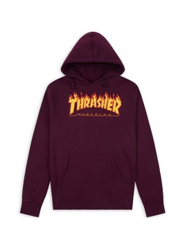 Sweat Capuche Thrasher Flame Logo Bordeaux