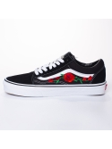 Remix Line Custom- Vans Old Skool Roses Rouges Patchs Brodés