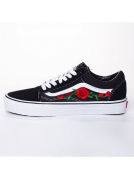 Vans Old Skool Red Roses Embroidered Patches Remix Line Custom
