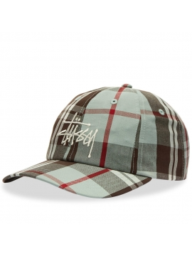 Stussy Big Logo Madras Plaid Low Pro Mint