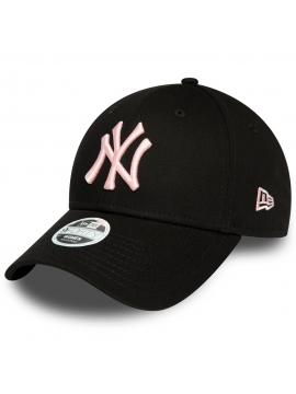 New Era New York Yankees League Essential Casquette 9Forty Noire Avec Logo Rose Pour Femme