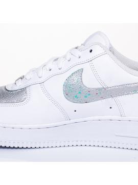 Remix Line Custom - Nike Air Force 1 Paint Stain Silver Custom