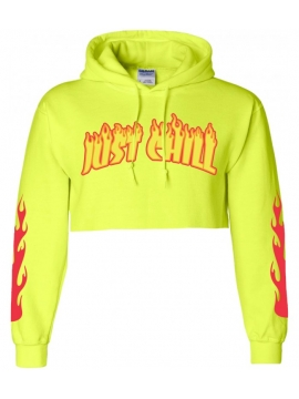 Just Chill Flames Crop Top Capuche Jaune Fluo